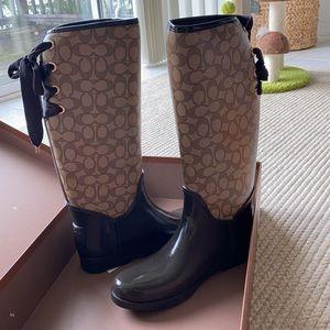 Coach 'Tristee' Outline Signature Rain Boots (NWT)